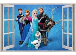 Stickers trompe l'oeil fenêtre ouverte Reine des neiges