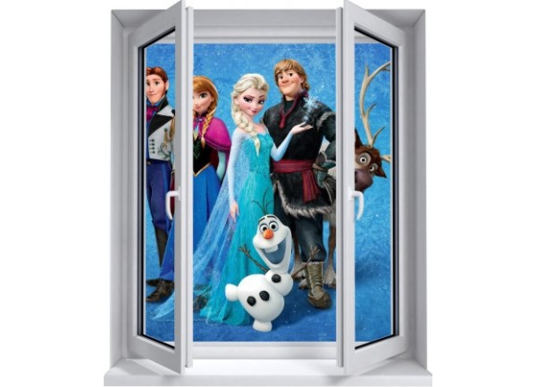 Sticker trompe l'oeil fenêtre 2 vantaux Reine des neiges