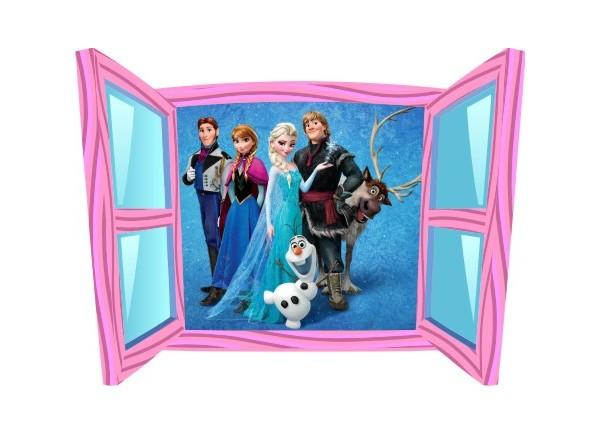 Sticker trompe l'oeil fenêtre cartoon rose Reine des neiges