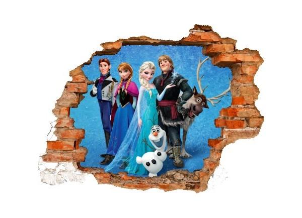 Sticker trompe l'oeil 3D mur déchiré Reine des neiges