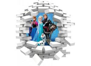 Sticker trompe l'oeil 3D mur blanc cassé Reine des neiges