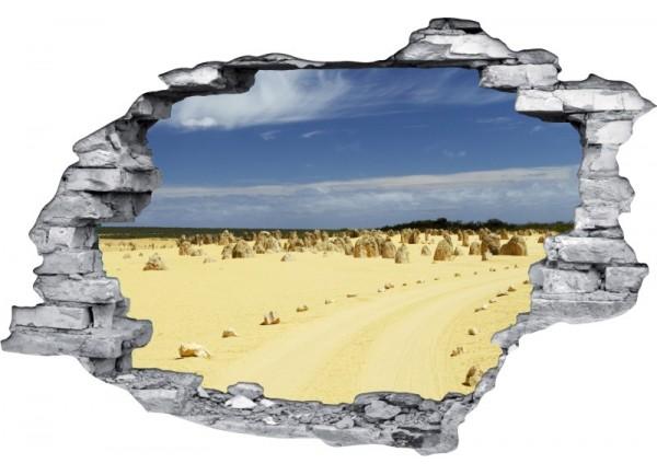 Sticker trompe l'oeil 3D mur déchiré Rochers dans le desert