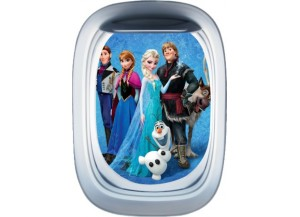 Stickers trompe l'oeil hublot avion Reine des neiges