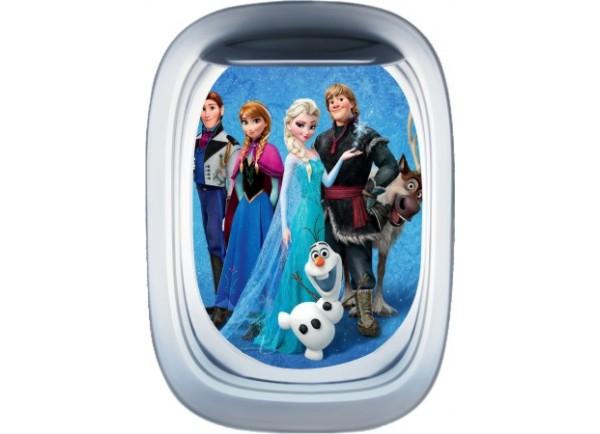 Stickers trompe l'oeil hublot avion Reine des neiges