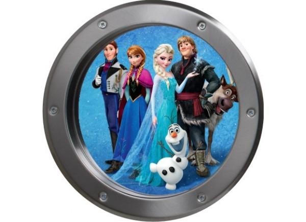 Stickers trompe l'oeil hublot métal Reine des neiges