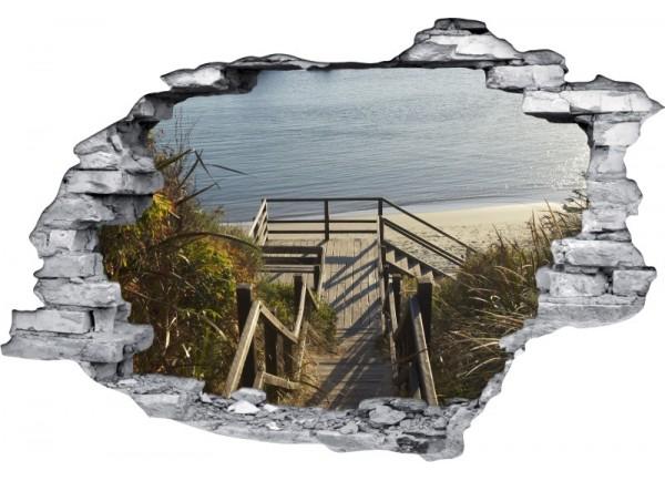 Sticker trompe l'oeil 3D mur déchiré passerelle sur la plage