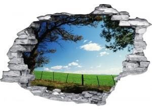 Sticker trompe l'oeil 3D mur déchiré prairie