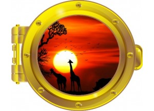 Stickers trompe l'oeil hublot OR Savane africaine couché de soleil
