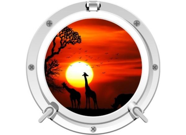 Stickers trompe l'oeil hublot blanc Savane africaine couché de soleil