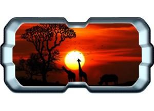 Stickers trompe l'oeil hublot 3D Savane africaine couché de soleil
