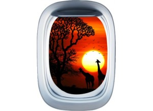 Stickers trompe l'oeil hublot avion Savane africaine couché de soleil