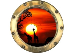 Stickers trompe l'oeil hublot doré Savane africaine couché de soleil