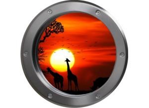 Stickers trompe l'oeil hublot métal Savane africaine couché de soleil