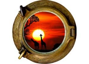 Stickers trompe l'oeil hublot bronze Savane africaine couché de soleil