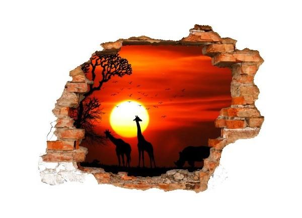 Sticker trompe l'oeil 3D mur déchiré Savane africaine couché de soleil