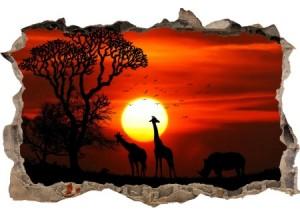 Sticker trompe l'oeil 3D mur d'agglo cassé Savane africaine couché de soleil