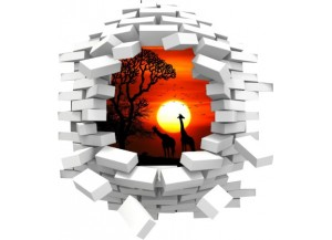 Sticker trompe l'oeil 3D mur blanc cassé Savane africaine couché de soleil