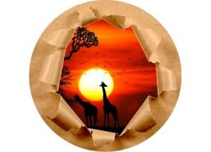 Stickers trompe l'oeil mur papier déchiré Savane africaine couché de soleil