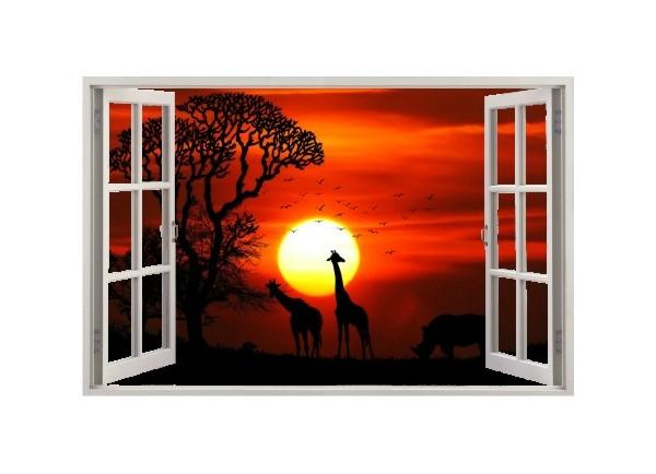 Stickers trompe l'oeil fenêtre ouverte Savane africaine couché de soleil