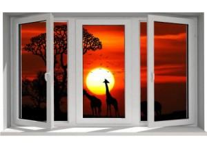 Stickers trompe l'oeil fenêtre Savane africaine couché de soleil