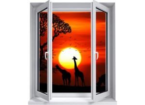 Sticker trompe l'oeil fenêtre 2 vantaux Savane africaine couché de soleil