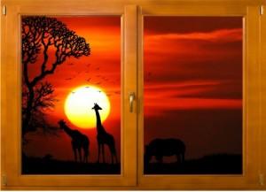 Sticker trompe l'oeil fenêtre bois Savane africaine couché de soleil