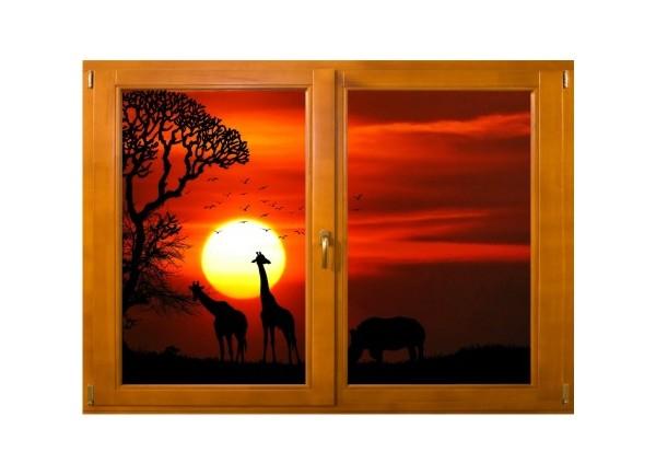 stickers trompe l 39 oeil fen tre bois savane africaine couch de soleil. Black Bedroom Furniture Sets. Home Design Ideas