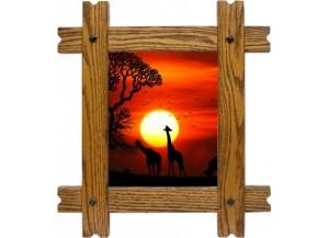 Sticker trompe l'oeil fenêtre cadre bois Savane africaine couché de soleil