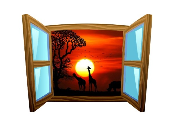 Sticker trompe l'oeil fenêtre cartoon bois Savane africaine couché de soleil