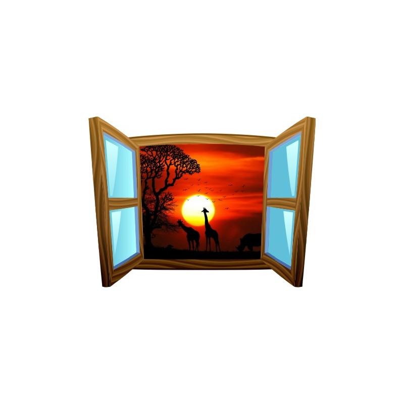 sticker trompe l 39 oeil fen tre cartoon bois savane africaine couch de soleil. Black Bedroom Furniture Sets. Home Design Ideas