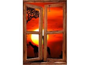 Sticker trompe l'oeil fenêtre cassée Savane africaine couché de soleil
