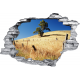 Sticker trompe l'oeil 3D mur déchiré prairie desertique