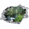 Sticker trompe l'oeil 3D mur déchiré riviere tropicale