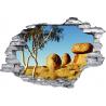 Sticker trompe l'oeil 3D mur déchiré rocher ronds dans la desert