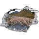 Sticker trompe l'oeil 3D mur déchiré mouton sur la route