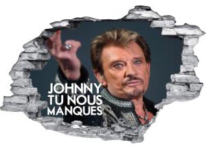 Sticker trompe l'oeil 3D mur déchiré Johnny Hallyday tu nous manques