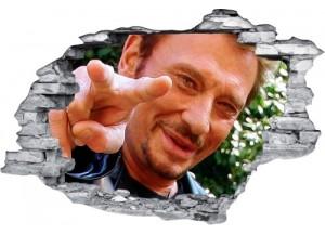 Sticker trompe l'oeil 3D mur déchiré Johnny Hallyday doigt