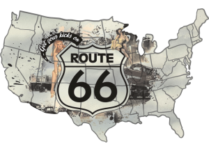 Stickers route 66 carte usa pin up