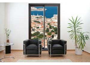 Stickers trompe l'oeil baie vitrée Marseille