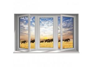 Stickers trompe l'oeil fenêtre Les éléphants