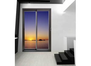 Stickers trompe l'oeil baie vitrée Coucher de soleil sur mer