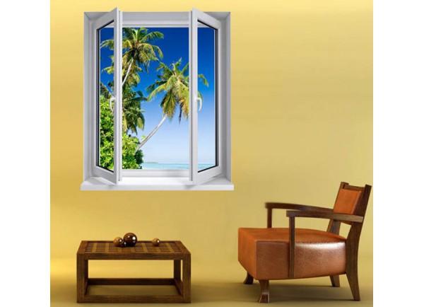 Stickers trompe l'oeil fenêtre plage de rêve