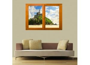 Stickers trompe l'oeil fenêtre Le Mont Saint Michel