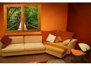 Stickers trompe l'oeil fenêtre Pont de bois dans la jungle