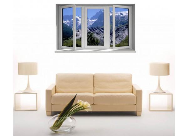 Stickers trompe l'oeil fenêtre les Alpes